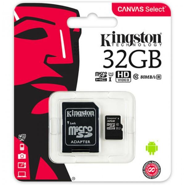 SCHEDA MICRO SDHC 32GB C10 CON ADAT. SD e USB KINGSTON