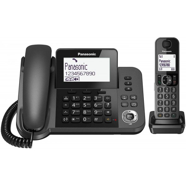 TELEFONO DIGITALE FISSO + CORDLESS PANASONIC NERO