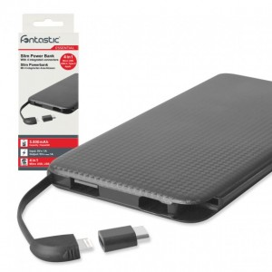 PowerBank 5000mAh 4 in 1 nero