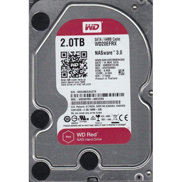 WD RED 2TB 64MB NAS INT 3,5IN SATA 6GB/S INTELLIPOWER
